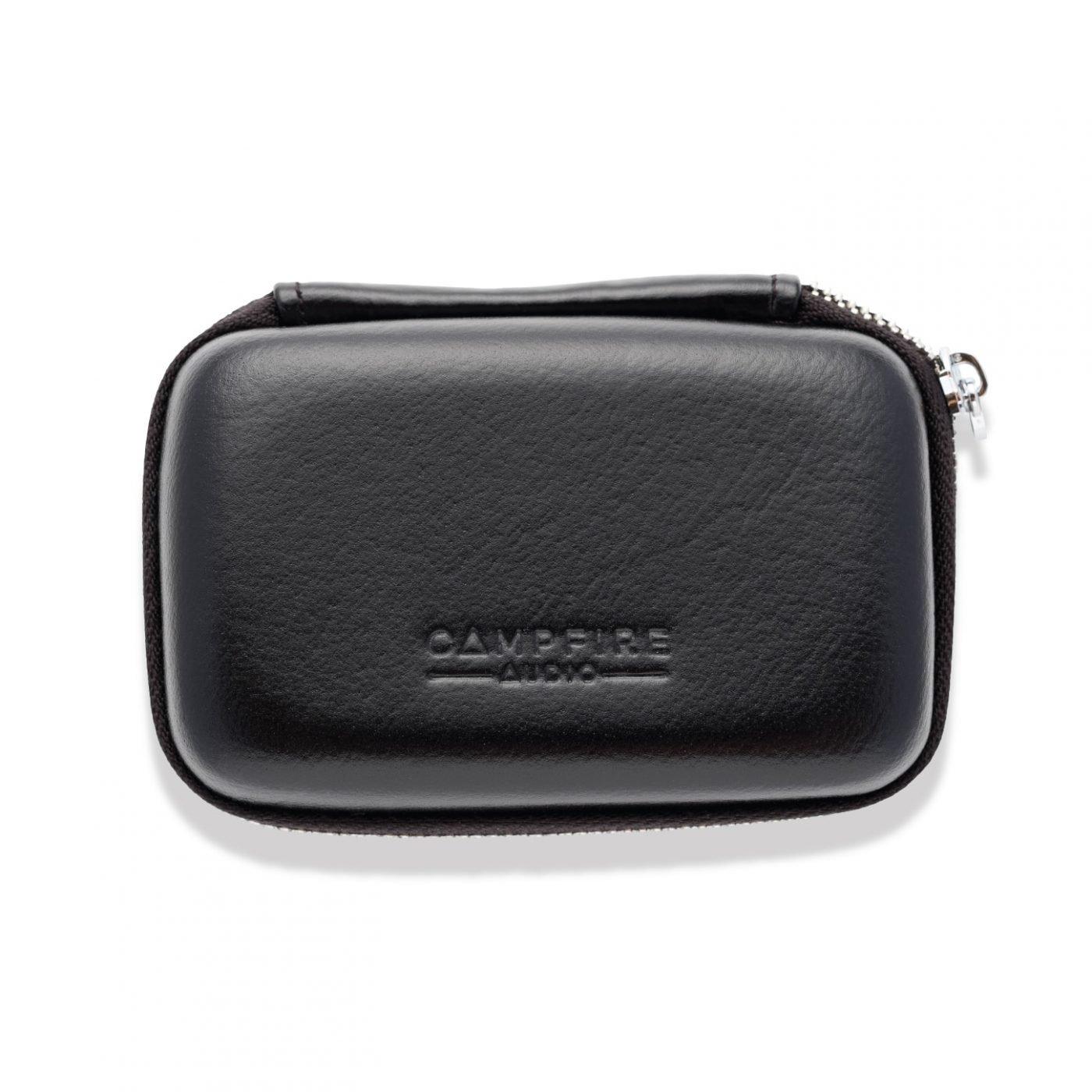 black leather iem case
