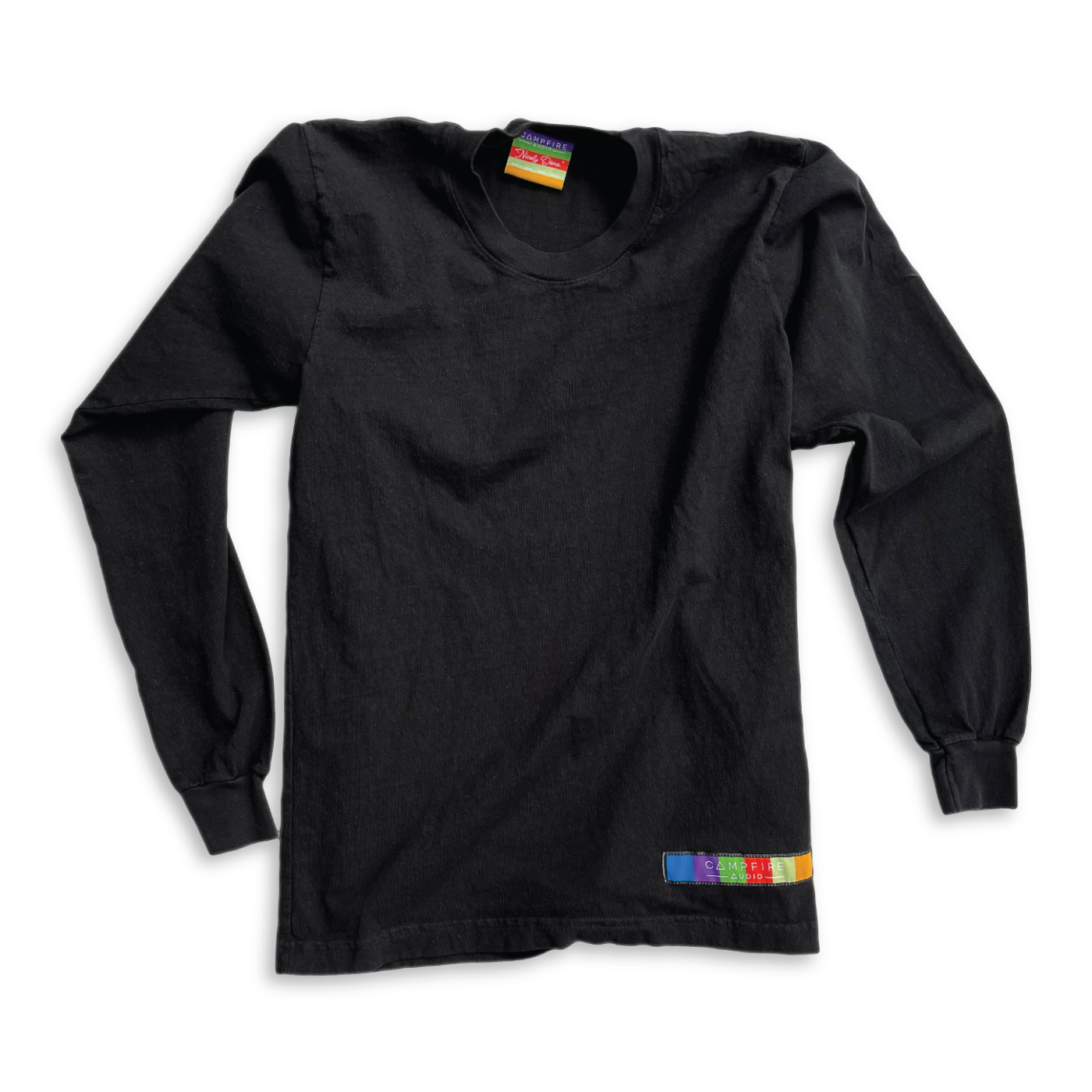 Recycled Cotton Long Sleeve T-Shirt in Black with Campfire Audio Color Block Logo Tag