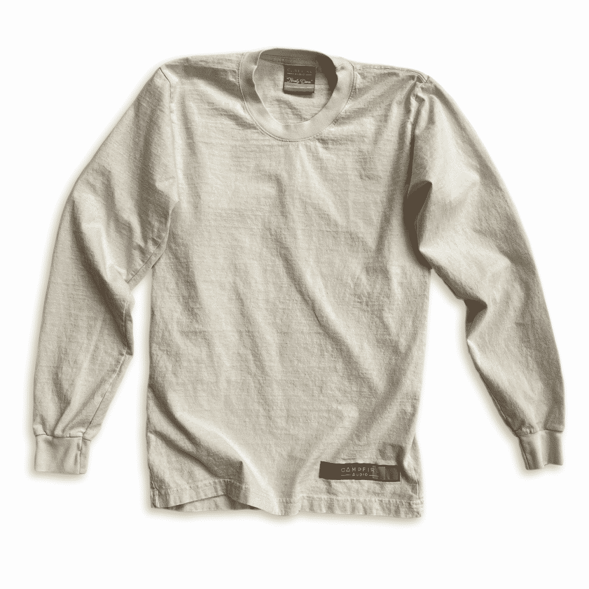 Recycled Cotton Long Sleeve T-Shirt in Natural Cotton with Campfire Audio Color Block Logo Tag