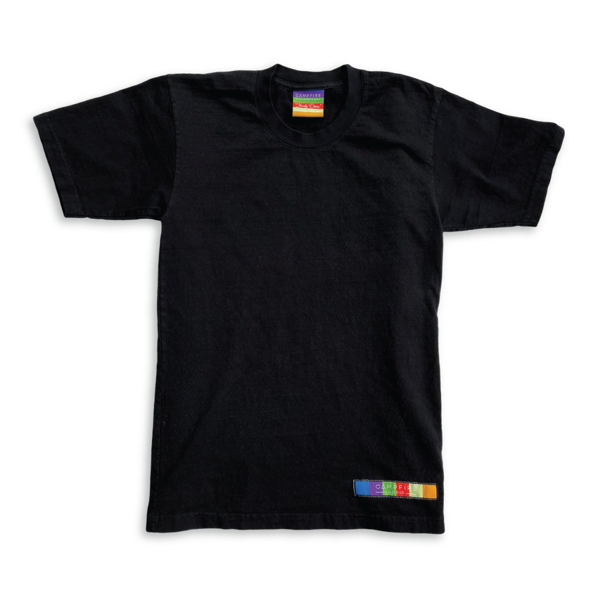 Recycled Cotton Short Sleeve T-Shirt in Black with Campfire Audio Color Block Logo Tag