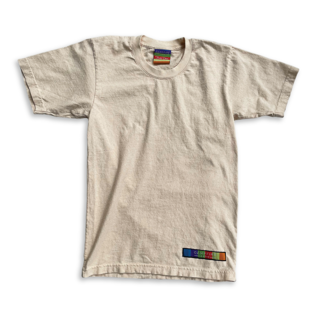 Recycled Cotton Short Sleeve T-Shirt in Natural Cotton with Campfire Audio Color Block Logo Tag