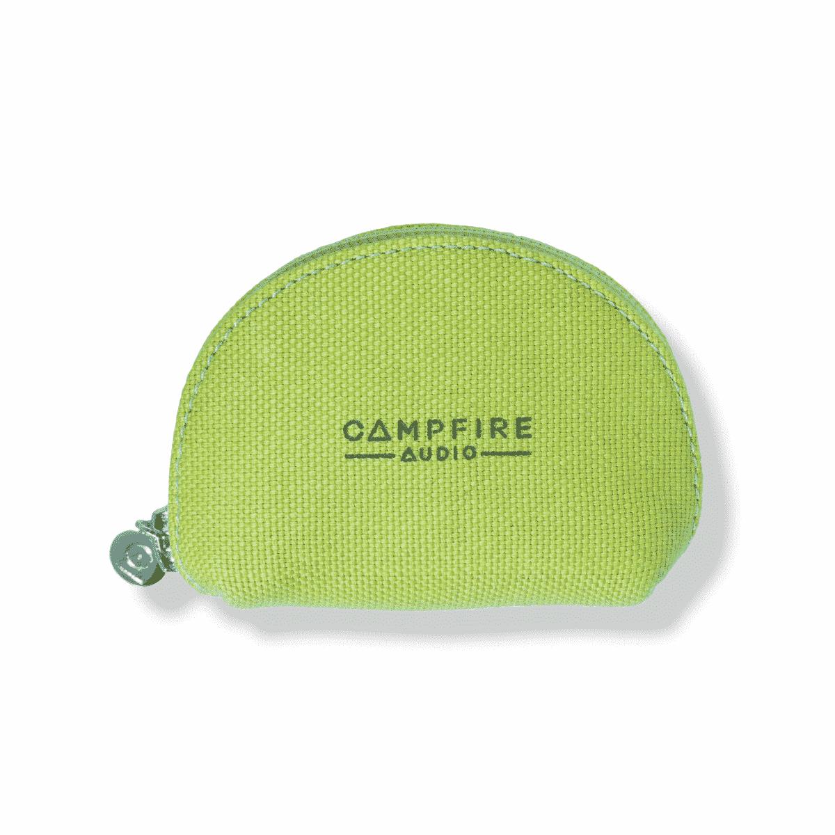 campfire audio bright green canvas iem case